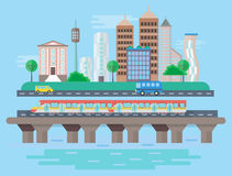 Vector Urban modern city landscape flat concept illustration. Smart city subway, cars, buildings and skyscrapers Royalty Free Stock Photography