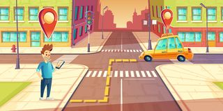 Vector urban navigation, taxi application concept. Vector urban navigation, taxi service application concept, advertising template. Illustration with young man Stock Image