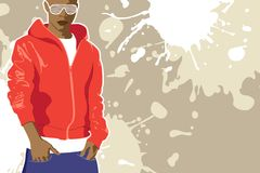 Vector urban poster. (man on light background Stock Photography