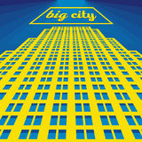 Vector urban retro postcard - skyscrapers. And modern tall buildings - city illustration Royalty Free Stock Images