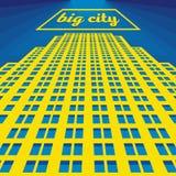 Vector urban retro postcard - skyscrapers. And modern tall buildings - city illustration vector illustration