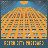 Vector urban retro postcard - skyscrapers Stock Photos