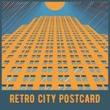 Vector urban retro postcard - skyscrapers. And modern tall buildings - city illustration Stock Photos