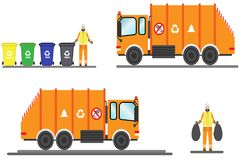 Vector urban sanitary vehicle garbage front loader truck and scavenger. Garbage Man in uniform gathering garbage and plastic waste stock illustration