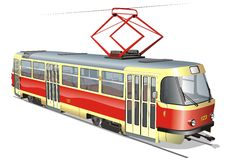 Vector urban tram Stock Images
