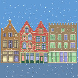 Vector. Urban Winter Christmas landscape. Royalty Free Stock Images