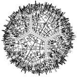Vector urbano abstracto del globo del fútbol del balompié de la ciudad Fotos de archivo libres de regalías