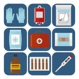 Vector urgente del tratamiento del paramédico de la ayuda médica de la farmacia del hospital de la emergencia de la salud de la m Fotografía de archivo