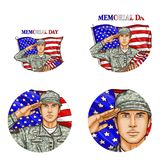 Vector us flag salute soldier pop art avatar icon. Set of vector pop art round avatar profile icons for users of social networking, blogs. American male soldier Stock Photos