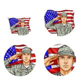 Vector us flag salute soldier pop art avatar icon. Set of vector pop art round avatar profile icons for users of social networking, blogs. American male soldier Royalty Free Stock Photo