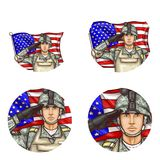 Vector us flag salute soldier pop art avatar icon. Set of vector pop art round avatar profile icons for users of social networking, blog. American male soldier Royalty Free Stock Images