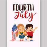 Vector US 4 july independence day lettering, children holding flag Stock Photos