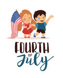 Vector US 4 july independence day lettering, children holding flag Royalty Free Stock Photos