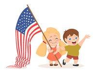Vector US 4 july independence day lettering, children holding flag Stock Images