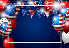 Vector USA balloon design of american flag with firework Stock Photography