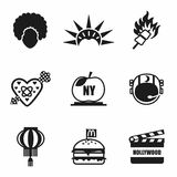 Vector USA icon set Stock Photos