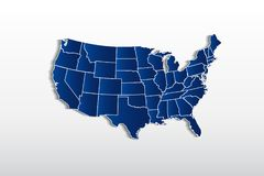 Vector USA map detailed states in blue logo. Icon image template stock illustration