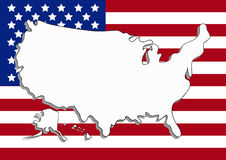 Vector USA map with flag Stock Photography