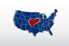 Vector USA map and love heart logo icon image. Template royalty free illustration