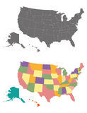 Vector usa map with states borders. Grey and colored Royalty Free Stock Photography