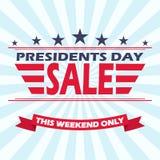 Vector USA Präsidententagesverkaufshintergrund mit Sternen, Streifen und Band Stockfoto