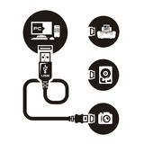 Vector USB. Authors illustration in vector Royalty Free Stock Photography
