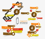 Vector usb flash infographic with keywords Royalty Free Stock Photography