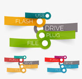 Vector usb flash tag cloud on stickers Royalty Free Stock Images