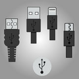 Vector usb icons with background grey. Vector image usb icons with background grey Royalty Free Stock Image