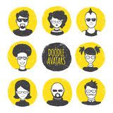 Vector user avatars in trendy hand drawn doodle Stock Photography