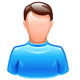 Vector user icon. Of male wearing blue t-shirt Stock Photo