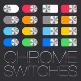 Vector User Interface Set including chrome switches Stock Photos