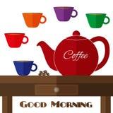 Vector völlig flache Kaffeekannenillustration mit Satz Schalen in den Farben Stockfotografie