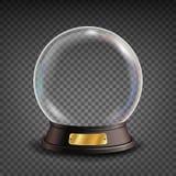 Vector vacío del globo de la nieve Sombras, reflexión y luces Esfera de cristal en un soporte Aislado en fondo transparente ilustración del vector