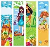 Vector vacation banners set 5. Set of four Tropical vertical banners with space for your text. Shopping bag full of juicy fruits. Pretty girl walking with dog Stock Photos