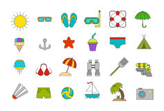 Vector vacation icons set. Set of 24  vacation set Stock Images
