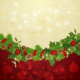 Vector vakantieachtergrond met de slinger van Kerstmis Stock Afbeelding