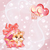 Vector valentijnskaartenachtergrond met harten Stock Fotografie