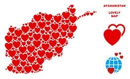 Vector Valentine Afghanistan Map Collage de corazones Stock de ilustración