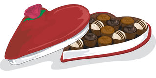 Vector Valentine and assorted chocolates. Valentine box of assorted chocolates Stock Photography