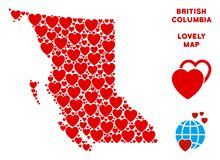 Vector Valentine British Columbia Province Map Mosaic of Hearts. Romantic British Columbia Province map composition of red hearts. We like British Columbia royalty free illustration