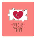 Vector valentine card. Creative idea - puzzle with Royalty Free Stock Images