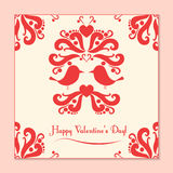 Vector Valentine card with cute birds Stock Photo