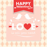 Vector Valentine card with cute birds Stock Photography