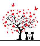 Vector valentine card. Vector illustration of a valentine tree with red hearts and cats stock illustration