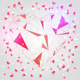 Vector Valentine card with shiny particles and blured background and polygonal heart for promo, banners. Stock Photos