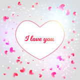 Vector Valentine card with shiny particles and blured background and white heart with I love You for promo, banners. Stock Image