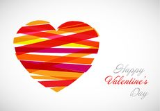 Vector valentine card template. With modern heart illustration made from color stripes royalty free illustration