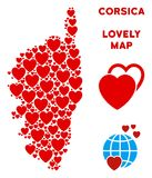 Vector Valentine Corsica France Island Map Collage of Hearts. Romantic Corsica France Island map collage of red hearts. We like Corsica France Island map stock illustration