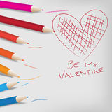 Vector Valentine Day Background. Color Crayons and Heart royalty free illustration